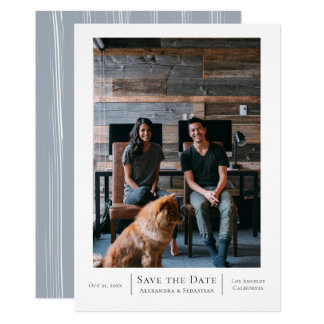 Save The Date Grey White Wedding Personalized Card