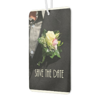 Save the Date grooms Boutonniere Air Freshener