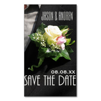 Save the Date Groom's boutonniere Business Card Magnet