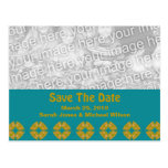 save the date groovy retro postcard