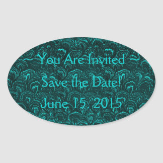 Save the Date Groovy Retro Swirls Teal Stickers