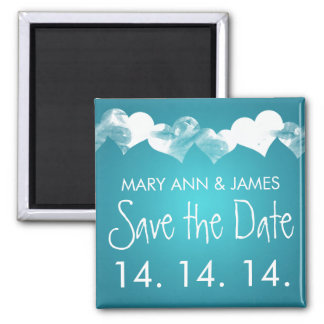 Save The Date Grunge Hearts Turquoise Magnet