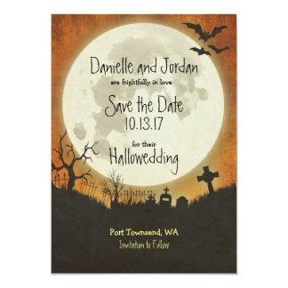 Save the Date Halloween wedding in orange Card