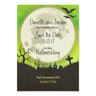 Save the Date Halloween wedding - moon, cemetery Card