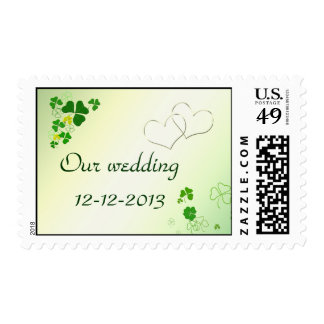 Save The Date Happy  Shamrock Postage Stamp