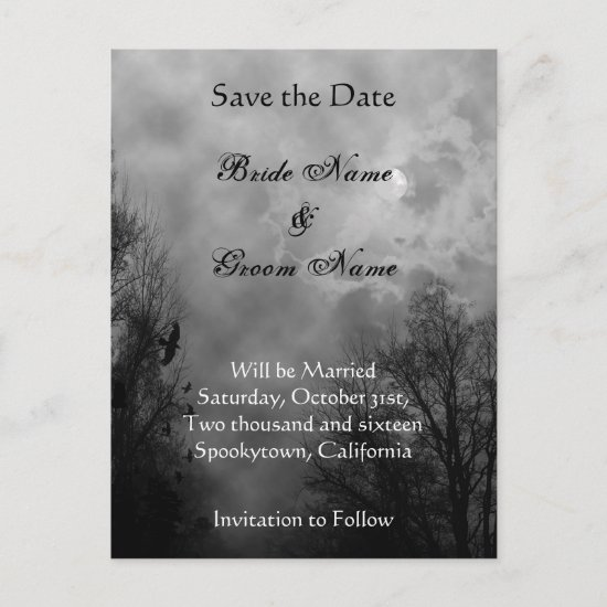 Save the Date Haunted Sky Announcement Postcard