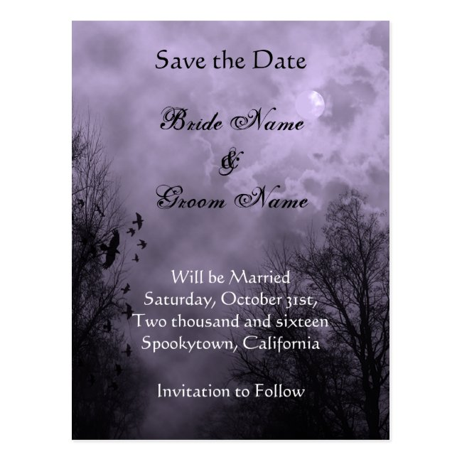 Save the Date Haunted Sky Purple Mist Postcard