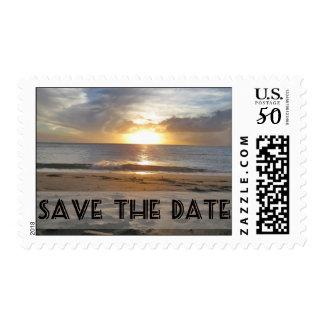 Save The Date Hawaiian Sunset Black Text Postage