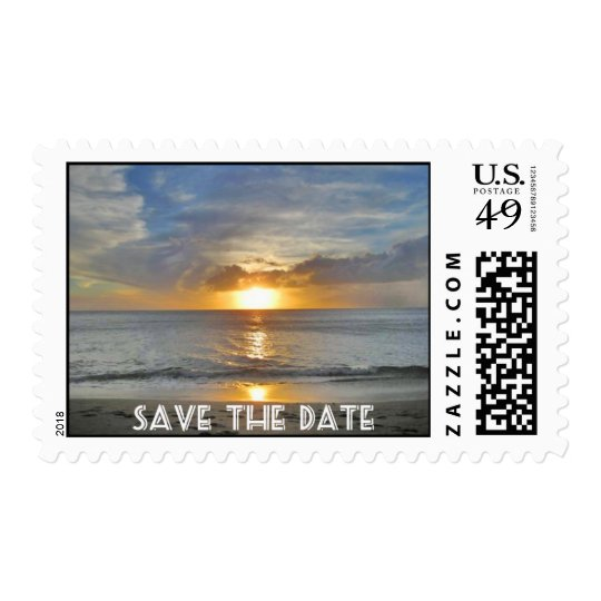 Save The Date Hawaiian Sunset White Text Postage