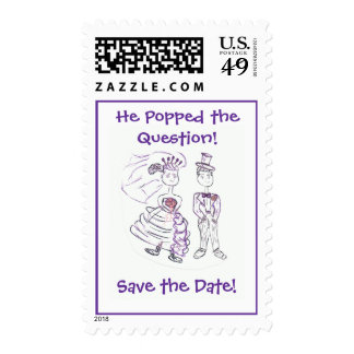 Save the Date/He Popped the Question Postage