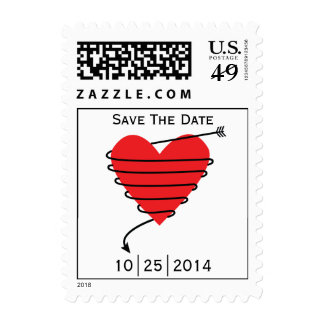 Save The Date Heart Bow & Arrow USPS Stamp