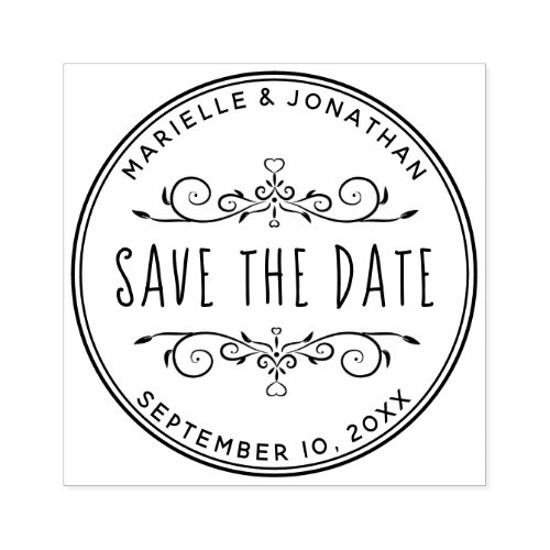 Save the Date Heart Create Your Own Return Address Rubber Stamp