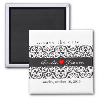 SAVE THE DATE :: heart & lace - black 2 Inch Square Magnet