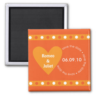 Save the Date Heart Magnet - Orange