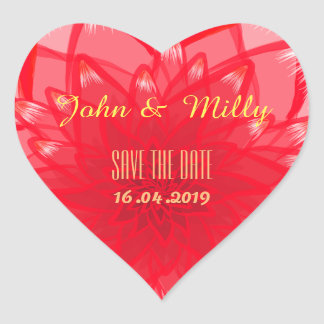 Save the date heart red color love wedding sticker