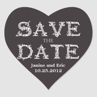 Save the Date Heart Sticker