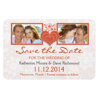 save the date heart two photos magnets