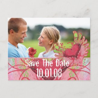 Save The Date - Hearts and Swirls postcard