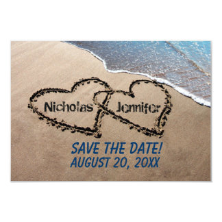 Save The Date Hearts In Sand Wedding Invitation
