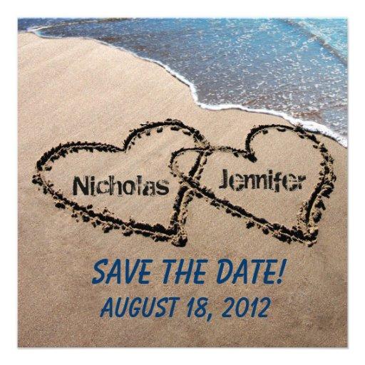 Save The Date Hearts In Sand Wedding Invitation Square Invitation
