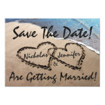 Save The Date Hearts Sand Beach Wedding Invitation