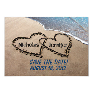 Save The Date Hearts Sand Beach Wedding Invitation