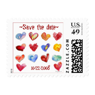 Save the Date Hearts Small Postage Stamps
