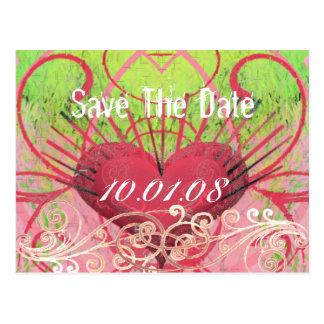 Save The Date - Hearts & Swirls Postcard