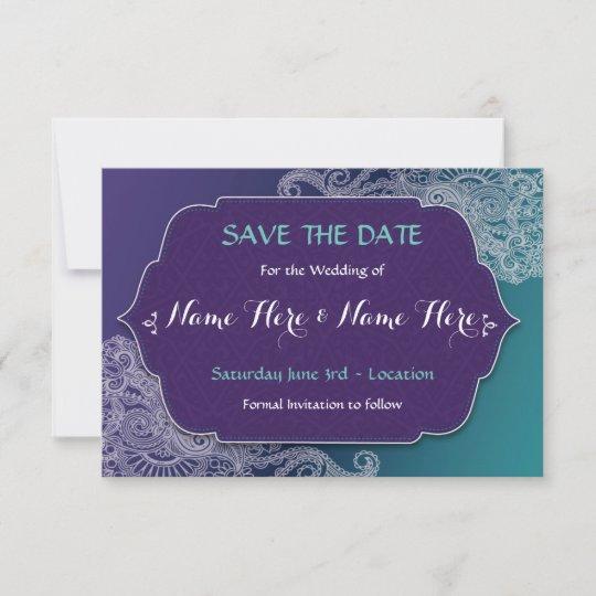 Save The Date Henna Style Jewel Wedding Invites Zazzle Com