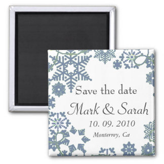 Save the Date Holiday Wreath Blue Magnet