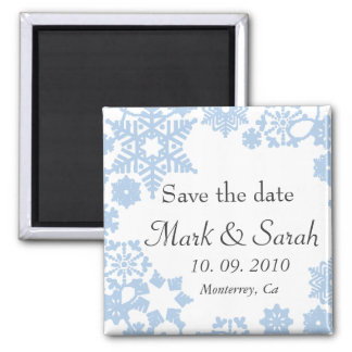 Save the Date Holiday Wreath Light Blue Magnet