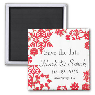 Save the Date Holiday Wreath Red Magnet