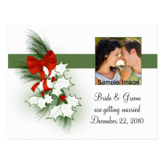 Save the Date Holly Photo Postcard