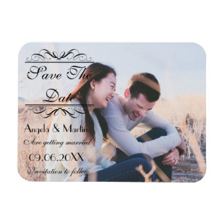 Save the Date Horizontal Black Script Magnet