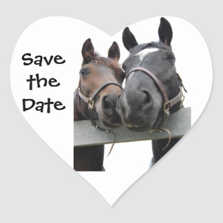 Save the Date Horse Country Wedding Heart Sticker