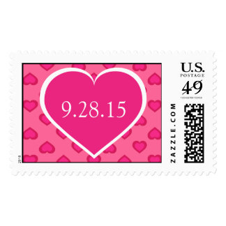 Save the Date hot pink hearts pattern Postage