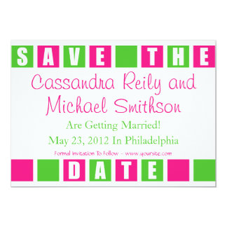 Save The Date (Hot Pink / Lime Green Square Boxes) Card