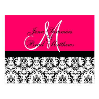 Save the Date Hot Pink Monogram Damask Card Post Card