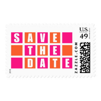 Save The Date (Hot Pink /Orange Square Boxes) Postage Stamp