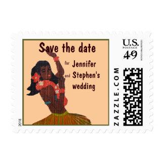 Save the Date Hula Dancer Hawaiian Wedding beige Postage Stamps