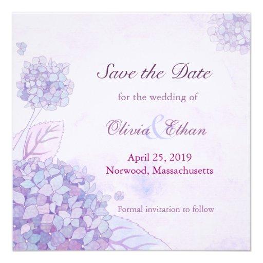 Save The Date Hydrangea Wedding Invitations Square Invitation Card