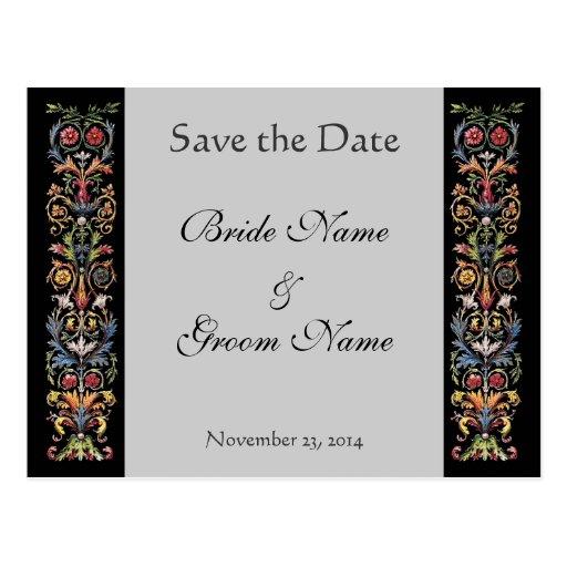 Save the Date Illuminated Gray Custom Postcards
