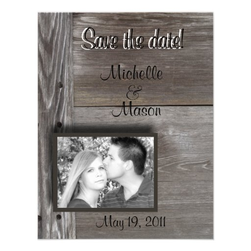 Save the date! in Barn wood Invite