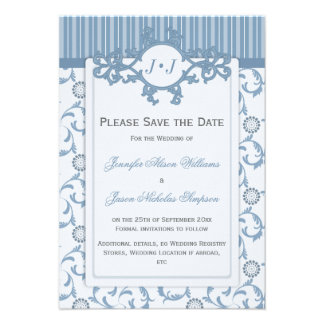 Save the Date in Blues with Ornate Pattern Custom Invitation