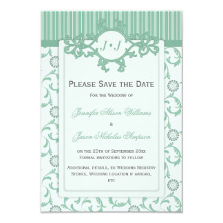 Save the Date in Green with Ornate Pattern Card