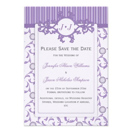 Save the Date in Lavender with Ornate Pattern Personalized Announcements