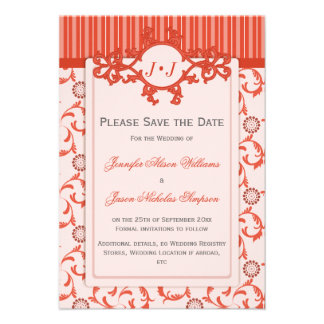 Save the Date in Orange with Ornate Pattern Personalized Announcements