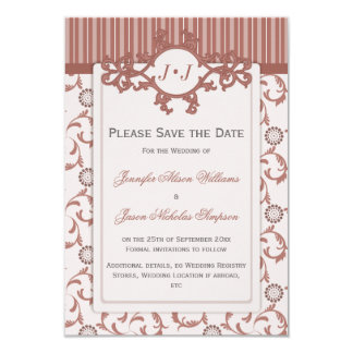 """Save the Date in Spice with Ornate Pattern 3.5"""" X 5"""" Invitation Card"""