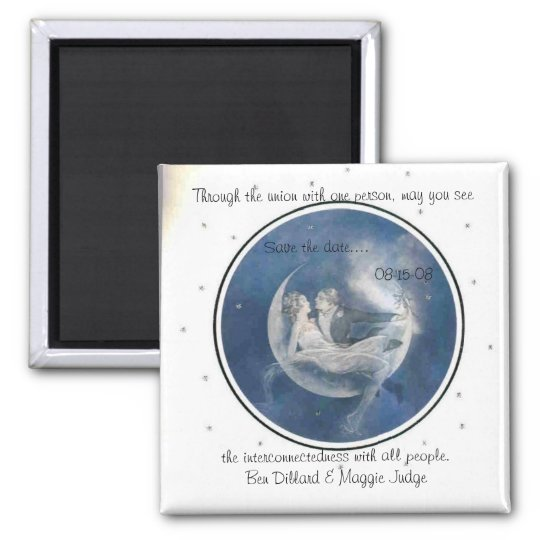 save the date in the stars 2 inch square magnet