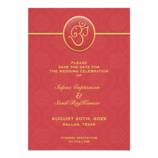 Save The Date Indian Style Flat Card Custom Invitation